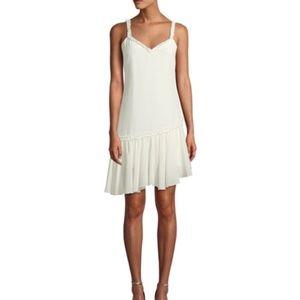 Castiel 100% Silk Ruffle Asymmetrical Ivory Dress